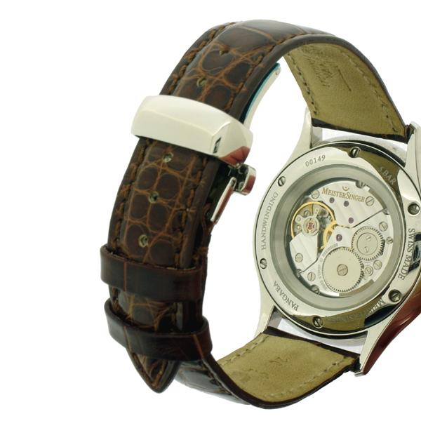 Lederen horlogeband met vouwsluiting