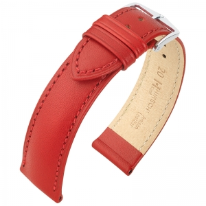 Hirsch Kent Artisan Horlogebandje Italiaans Kalfsleer Rood