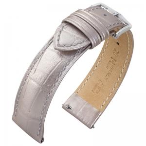 Hirsch Duke Horlogebandje Alligatorgrain Metallic-Zilver Limited Edition