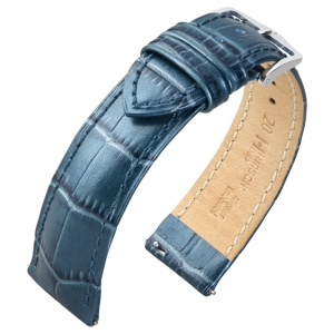 Hirsch Duke Horlogebandje Alligatorgrain Metallic-Blauw Limited Edition