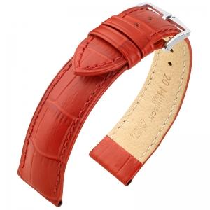 Hirsch Duke Horlogebandje Alligatorgrain Rood