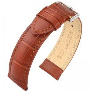 Hirsch Duke Horlogebandje Alligatorgrain Goudbruin