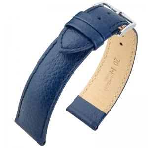 Hirsch Kansas Horlogebandje Buffelgrain Blauw