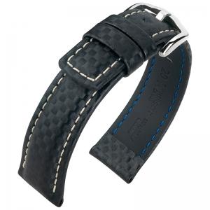 Hirsch Carbon Horlogebandje 100 m Water-Resistant Zwart met Wit Stiksel