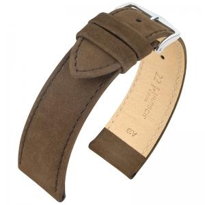 Hirsch Osiris Nubuck Horlogebandje Kalfsleer Bruin