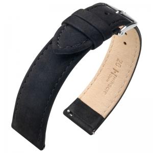 Hirsch Nubuck Osiris Horlogebandje Kalfsleer Zwart