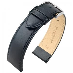 Hirsch Osiris Horlogebandje Rundbox Leer Zwart