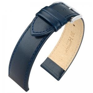 Hirsch Osiris Horlogebandje Rundbox Leer Blauw