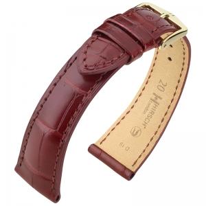Hirsch London Louisiana Alligator Horlogebandje Mat Wijnrood