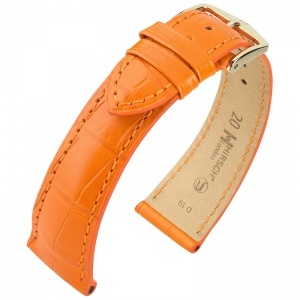 Hirsch London Louisiana Alligator Horlogebandje Mat Oranje