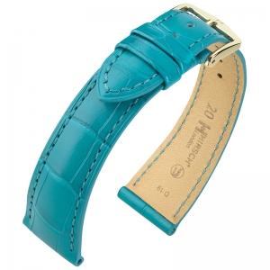 Hirsch London Louisiana Alligator Horlogebandje Mat Turquoise