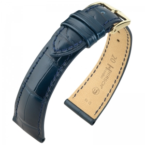 Hirsch London Louisiana Alligator Horlogebandje Mat Blauw