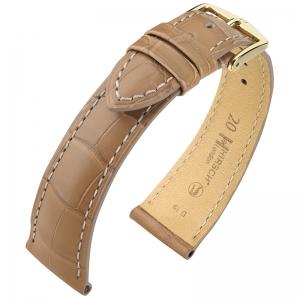 Hirsch London Louisiana Alligator Horlogebandje Mat Beige