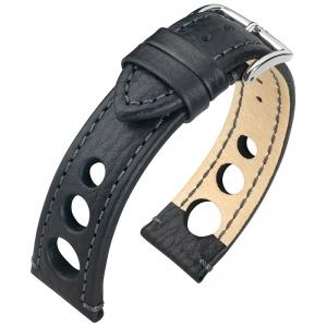 Hirsch Rally Artisan Geperforeerd Horlogebandje Zwart