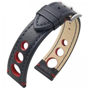 Hirsch Rally Artisan Geperforeerd Horlogebandje Zwart / Rood