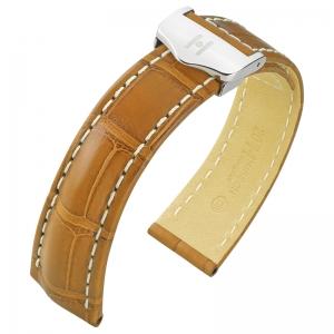 Hirsch Navigator Horlogebandje Voor Breitling Vouwsluiting Louisiana Alligator Mat Honing