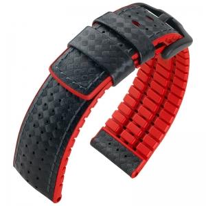 Hirsch Ayrton Performance Horlogeband Zwart Leer / Rood Rubber