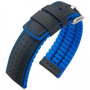 Hirsch Robby Performance Horlogeband Zwart Leer / Oceaan Blauw Rubber