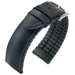 Hirsch James Performance Horlogeband Zwart Leer / Zwart Rubber