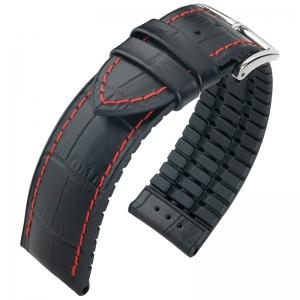 Hirsch George Performance Horlogeband Zwart Leer / Rubber Rood Stiksel