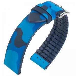 Hirsch John Performance Horlogeband Camouflage Blauw Rubber