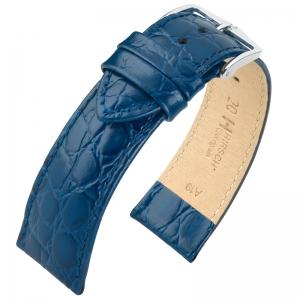 Hirsch Crocograin Horlogebandje Blauw