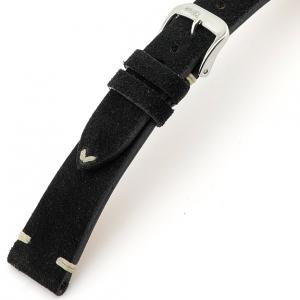 Rios Hudson Horlogebandje Suede Leer Zwart