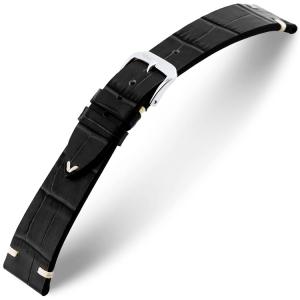 Rios Hollywood Horlogebandje Rundsleer Zwart