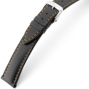 Rios Smart Horlogebandje Rundsleer Zwart Oranje Stiksel