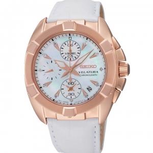 Seiko Velatura Chronograph Horlogeband SNDX92P2 Wit Leer