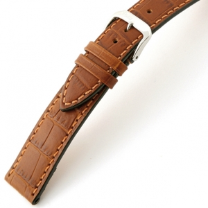 Rios Orlando Alligator Horlogebandje Rundsleer Cognac