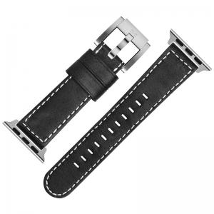 Marc Coblen Horlogebandje voor Apple Watch Zwart Wit Stiksel