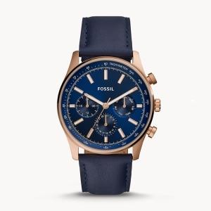 Fossil BQ2449 Horlogeband Blauw Leer