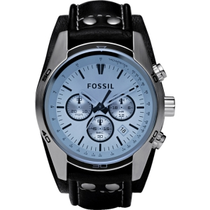 Fossil CH2564 Horlogeband Zwart Leer