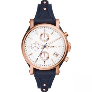 Fossil Original Boyfriend ES3838 Horlogeband Blauw Leer