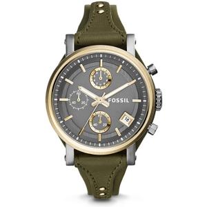 Fossil ES3839 Horlogeband Groen Leer