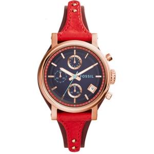 Fossil ES3906 Horlogeband Rood Leer