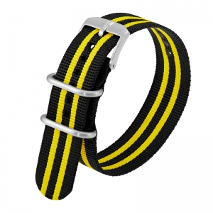 Luminox 3050, 3060, 3080, 3090, 3150, 3950 ZULU Strap Black Yellow Nylon 23mm - FN.3950.50