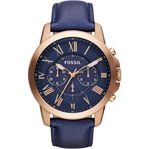 Fossil FS4835 Horlogeband Blauw Leer