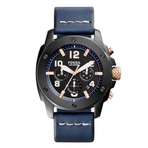 Fossil FS5066 Horlogeband Blauw Leer
