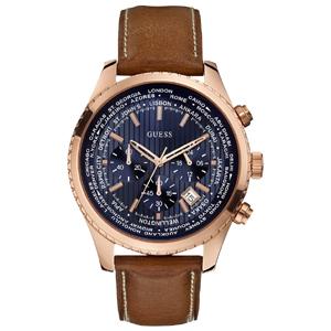 Guess Horlogebandje W0500G1 Bruin Leer