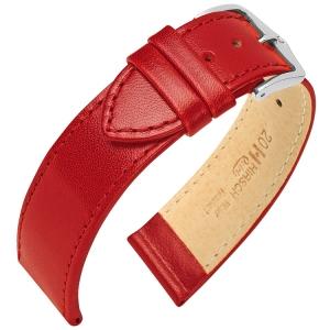 Hirsch Osiris Horlogebandje Rundbox Leer Rood