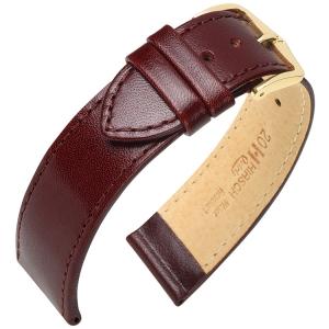 Hirsch Osiris Horlogebandje Rundbox Leer Wijnrood