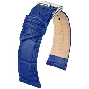 Hirsch Princess Horlogebandje Alligatorgrain Blauw