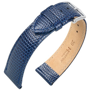 Hirsch Rainbow Horlogebandje Lizardgrain Blauw
