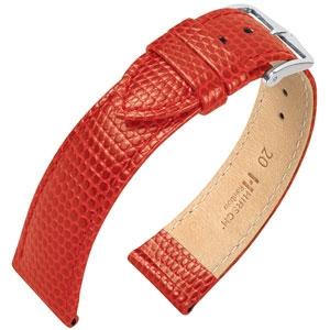 Hirsch Rainbow Horlogebandje Lizardgrain Rood