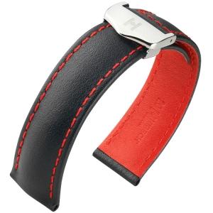 Hirsch Speed Horlogeband voor TAG Heuer Vouwsluiting Zwart Rood Stiksel