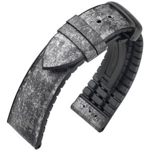 Hirsch Stone Performance Horlogeband Echt Leisteen / Zwart Rubber