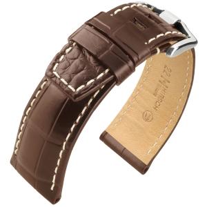 Hirsch Tritone Horlogeband voor Panerai Nijl Krokodillen Leer Semi-Mat Bruin