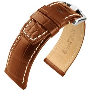 Hirsch Tritone Horlogeband voor Panerai Nijl Krokodillen Leer Semi-Mat Goudbruin